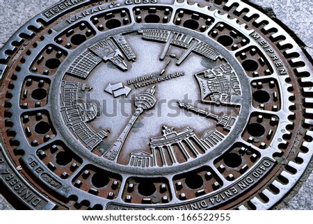 manhole cover in Berlin, capital of Germany - stock photo