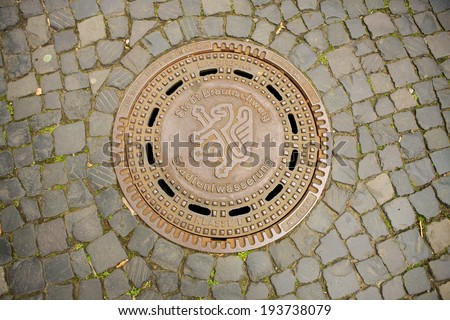 manhole cover in Braunschweig , Germany - stock photo
