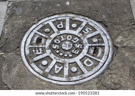 Manhole cover in Sao Paulo, Brazil - stock photo