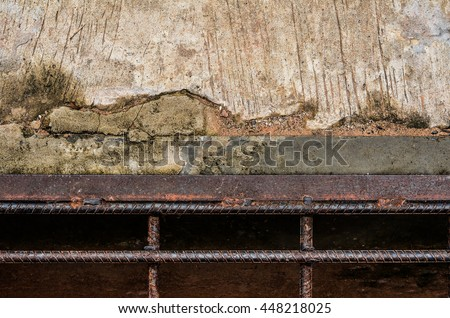 Manhole cover metal Steel Grill Sewer Cover or Manhole cover.Concrete road with steel sewer drain grid - stock photo