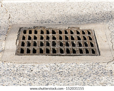 Manhole cover metal the drain  - stock photo