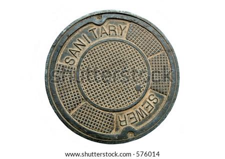 Manhole cover (12MP camera). - stock photo
