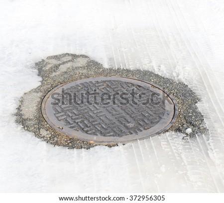 manhole with snow - stock photo