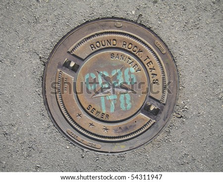 Manholes covers from Round Rock, TX - stock photo