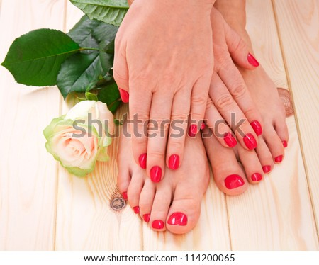 manicure and pedicure - stock photo
