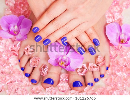 Manicure and pedicure. Body care, spa treatments. Nail polish and Accessories. Colorful Studio Shot of Stylish Woman. Vivid Colors. Rainbow Colors  - stock photo