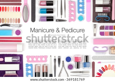 manicure and pedicure tools and other accessories on white background. frame composition with copyspace - stock photo