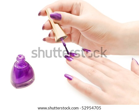 manicure process: nail polish and woman hands over white background - stock photo