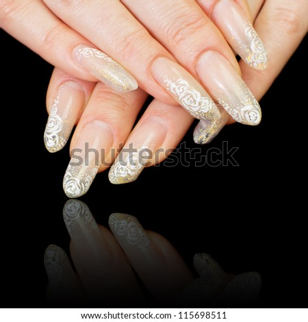 Manicure. Relaxation in spa salon. Woman fingers. Focus on a nails (shallow depth of field)