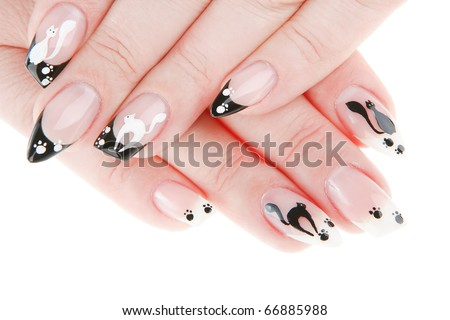 manicure with a cat on a white background - stock photo