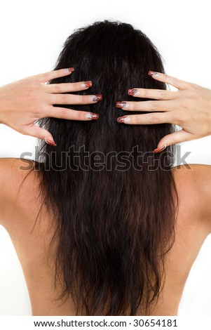 Manicured female hands with nice nails. - stock photo