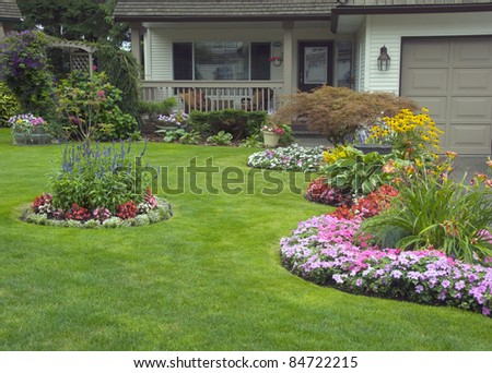 Manicured House and Garden - stock photo