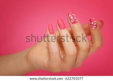 Manicured Womans Nails Pink Nailart Flowers Stock Photo Royalty