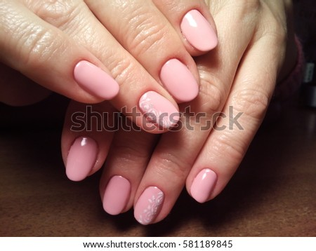 manicurist job done perfectly well the customer is satisfied with beautiful manicured hands