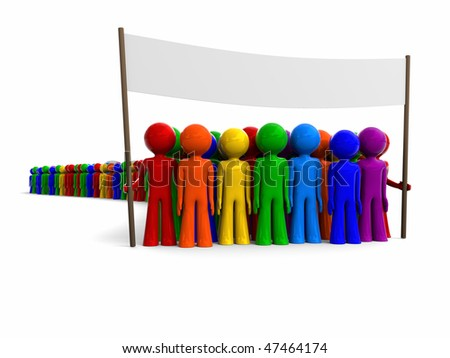 manifestation, colorful crowd marching holding a banner - stock photo