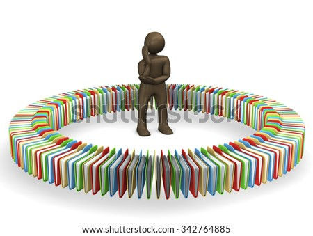 Manikin standing in circle of files,thinking, 3D rendering