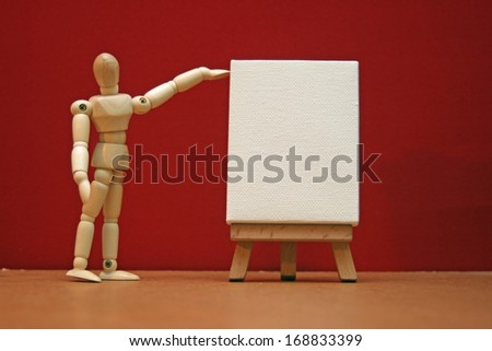 Manikin with blank canvas.