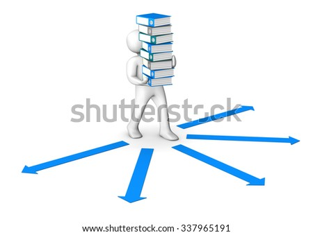 Manikin with folders and blue arrows  on the white.  - stock photo