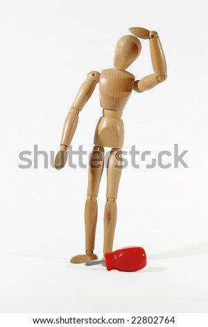 manikin with screwdriver on white background - electrician