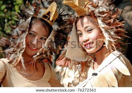 MANILA - APRIL 16: Contingent from different parts of the country celebrate The 2011 Aliwan Fiesta on April 16, 2011 in Manila Philippines. Performers dressed with ethnic costumes they represent. - stock photo