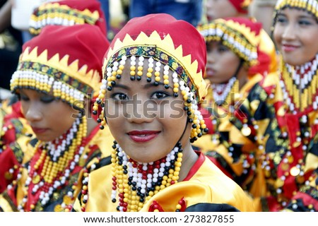MANILA APRIL 25: Contingent in The Aliwan Fiesta on April 25, 2015 in Manila, Philippines. Aliwan celebrated with cultural presentation & street dance competition.