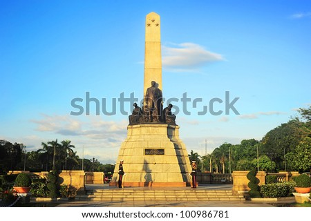 MANILA - APRIL 01: Rizal monument in Rizal park on April 01, 2012 in Manila, Philippines. The monument was built to commemorate the Filipino nationalist, Jose Rizal. The monument was unveiled in 1913 - stock photo
