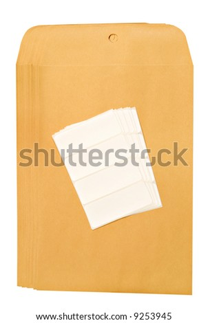 Manila business envelopes with blank labels.