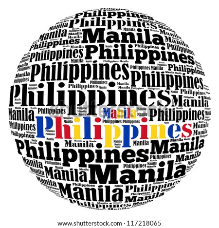 Manila capital city of Philippines info-text graphics and arrangement concept on white background (word cloud)
