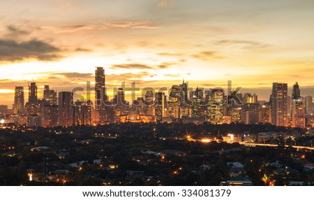Manila City at sunset. (Philippine capital) - stock photo
