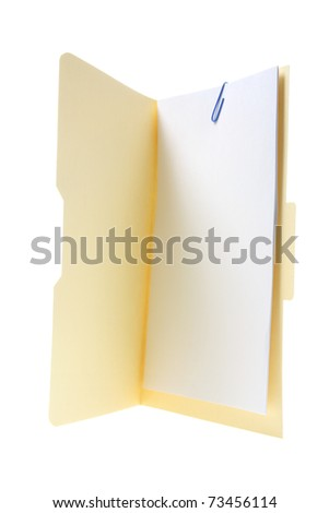 Manila File Folder on White Background - stock photo