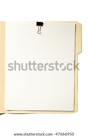 Manila File Folder on White. Stack of paper with clip. Focus on paper surface.