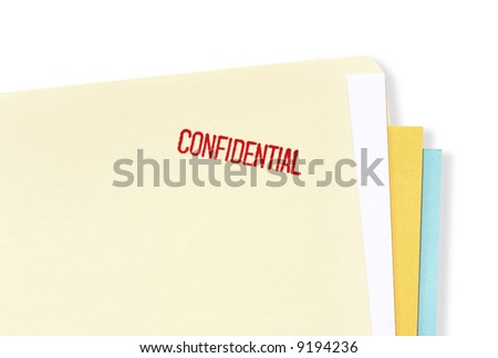 "Manila file folder stamped ""confidential"". - stock photo"