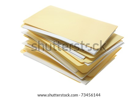 Manila File Folders on White Background - stock photo