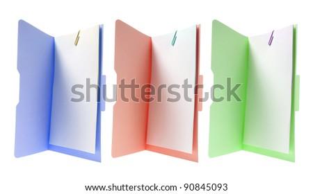 Manila File Folders on White Background - stock photo
