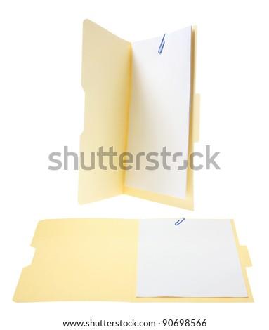 Manila Files on White Background - stock photo