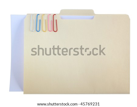 Manila folder and five paper clips with blank paper, clipping path included - stock photo