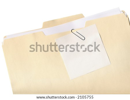 Manila folder and paper clipped note isolated on white