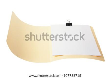 Manila Folder on White Background - stock photo