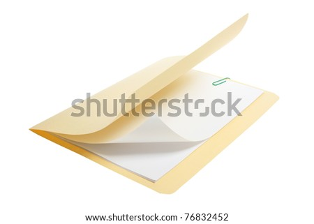 Manila Folder on White Background - stock photo