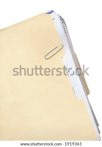 Manila folder, paper clip, and stack of papers