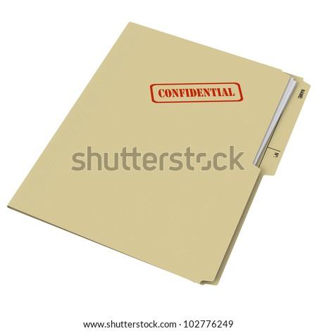 Manila folder stamped Confidential on white background - stock photo