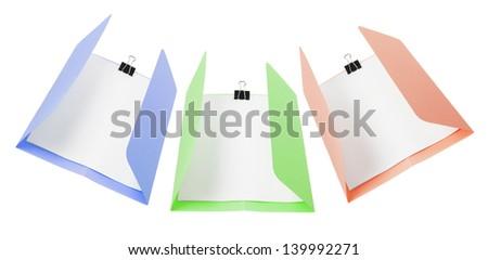 Manila Folders on White Background - stock photo