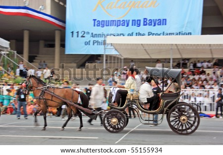 MANILA - JUNE 12: Filipino celebrate The Philippine Independence Day on June 12, 2010 in Manila, Philippines. The Independence Day commemorates the 112th anniversary with parade & exhibitions - stock photo