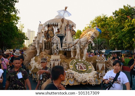 MANILA, PHILIPPINES - APR. 14: City of Laoag float made of garlic during Aliwan Fiesta, which is the biggest annual national festival competition on April 14, 2012 in Manila Philippines. - stock photo