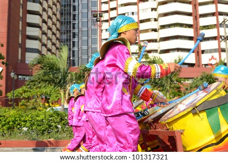 MANILA, PHILIPPINES - APR. 14: drummers on parade during Aliwan Fiesta, which is the biggest annual national festival competition on April 14, 2012 in Manila Philippines. - stock photo