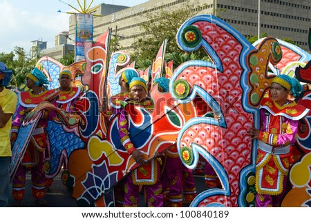 MANILA, PHILIPPINES - APR. 14: Performers awaiting their turn during Aliwan Fiesta, which is the biggest annual national festival competition on April 14, 2012 in Manila Philippines. - stock photo