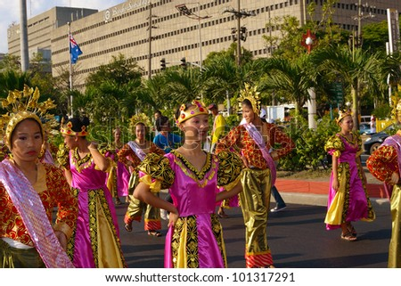 MANILA, PHILIPPINES - APR. 14: street dancers perform during Aliwan Fiesta, which is the biggest annual national festival competition on April 14, 2012 in Manila Philippines. - stock photo