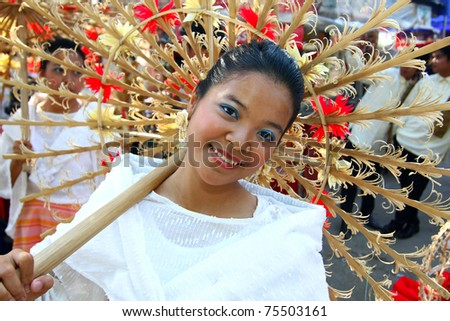 MANILA, PHILIPPINES - APRIL 16: Aliwan Festival, a yearly parade that features the cultural festivals that could be found in the country, this year's parade was held on April 16, 2011 Manila, Philippines. - stock photo