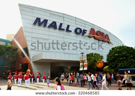 MANILA, PHILIPPINES - APRIL 20, 2015: The main gate logo of SM Mall of Asia. SM Mall of Asia is ranked the 11th largest mall in the world. - stock photo