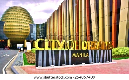 MANILA, PHILIPPINES -CIRCA JAN 2015- The City of Dreams in Manila is an integrated hotel, casino, and shopping complex located in the neighborhood of Paranaque in the Philippines' capital. - stock photo